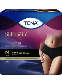 Slip femme x10 (Médium) Taille basse NORMAL NOIR Silhouette Tena