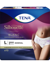 Slip femme x10 (Large) Taille basse NORMAL BLANC Silhouette Tena
