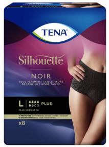 Slip femme x8 (Large) Taille haute PLUS NOIR Silhouette Tena