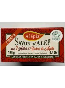 Savon D'ALEP Premium (125g) AUX 7 HUILES ET GRAINES DE NIGELLE Alepia